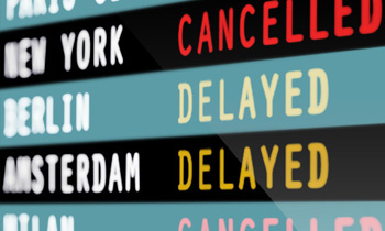 Close up of a list of delayed flights.